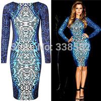 New Fashion 2014 Blue Leopard Print Dress Long Sleeve Knee-length Plus Size Women Bodycon Dress Pencil Dress S-XXL