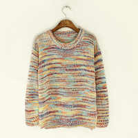 2014 new women's autumn and winter new thick wire rainbow yarn jumpers knitted sweater
