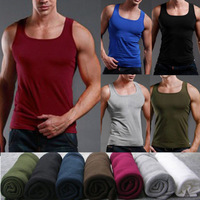 2014 Summer Men Bodybuilding FitnessTank Tops Men's Sport Tank Top Undershirt Slim Fit Cotton Trend Square Collar Basic Vest