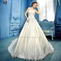 High-end luxury Long tail white lace Bra straps Stock new spring white Applique Mermaid wedding dress 2015 Size: 4-28
