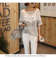 2014 Summer New Korean Sweet Lace Openwork Crochet Handmade Shawl Collar Long Sleeve T-shirt