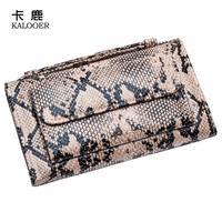 Fashion Women Genuine Leather Snake Printing Long Purse Women Clutch New Brand 2 Fold femle Bag B291