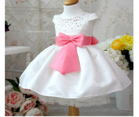 free shipping,NEW Korea rose big bow princess dress crystal purple children kig baby girl's dress