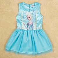 Hot sale Free shipping! 2014 summer girls dress color cute frozen dress girls baby dress 2-5 years