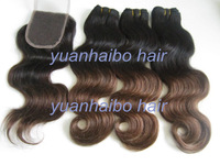 Stock 3bundles ombre peruvian hair with 1pc lace closure two toned color #1b/4 virgin remy human hair 4pcs/lot free shipping