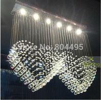 Love Heart Crystal Ceiling Light Pendant Lamp Rain Drop Chandelier LED Lighting