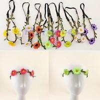 Free Shipping Women Boho Style Flower Festival Wedding Garland Floral Headband Hair Wreaths