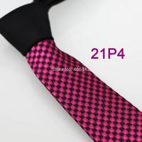 YIBEI Coachella ties SKINNY Tie New Arrival Black Knot Contrast Fuschia Plaids Checks Woven Microfiber Narrow Necktie SLIM Tie