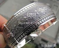 Gypsy Square Flower Metal Tibetan Silver vintage retro Fashion Cuff Bracelet Bangle Free Shipping for her