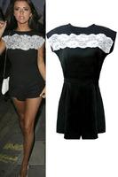 2014 Fashion Short Sleeve combinaison women, Lace Detail Front Zip Back Black short jumpsuits rompers macacao feminino