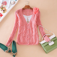 Free shipping 2014 Autumn Women's Beautiful Flower Beads Hollowing V-Neck Long-Sleeved Cardigan Knitted Sweater