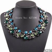 2014 new fashion brand elegant chunky statement necklace crystal women jewelry  for party brand jewelry