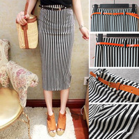 Summer new Korean version was thin vertical black and white striped long career Slim stretch skirts package hip skirt