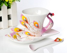 3Pcs Peacock Franz Porcelain Coffee and Tea set Cup / saucer / Spoon Creative mug