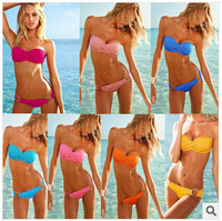 2014 Hot Women's Elegant Push Up Padded Cup Bandeau Swimwear Swimsuit Ladies' Sexy Bikini Set