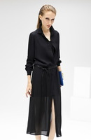 2014 Summer New Women in Europe and America Fan High-slit Black Stitching Long Shirt