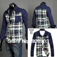 Free shipping 2014  Men's shirts,Long sleeve Plaid shirts Leisure clothes US size S,M,L,XL