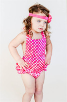 Free Shipping Hot Pink Baby Polka Dot Dress Newborn Dresses For Baby Girls Ruffle Cover Toddler Baby Dress Princess