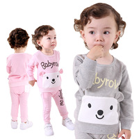 Retail Children's Clothing 2014 New, 100% Cotton, Lovely Little Bear Style Long Sleeve + Pants Suit Free Shipping