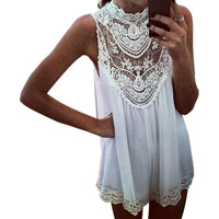 New Arrival  Sleeveless Lace Flower Mini Dress Women Sexy Hollow Out Short Dress Size L White Color