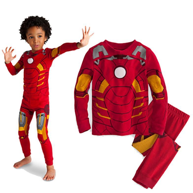 hot sale 2014 cartoon Iron Man cosplay costume long sleeve children pajama sets,toddler baby kids pijama sleepwear(China (Mainland))