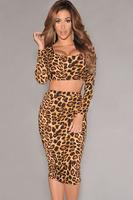 New fashion autume-winter Leopard Print women Long Sleeves crop top and Knee Length pencil midi skirt set saias femininas