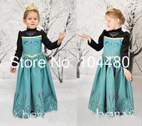 new 2014 Frozen girls costume dress,long sleeve Frozen princess birthday party cosplay wear kids dress Retail