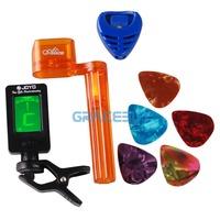 Tool Kits! 1 Chromatic Guitar Tuner afinador 1 Pick Plectrums Pics Holder 1 String Winder & Bridge Pin Puller and 5 Guitarpicks