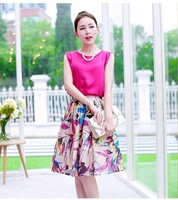 Crop top and skirt set Fashion women 2014 summer casual dress macacao feminino chiffon print sleeveless tops and skirts