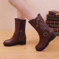 2014 women's genuine leather snow boots female platform martin boots