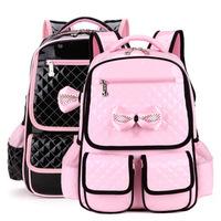 new 2014 hot PU primary school students school bag 1 - 3 girls - 4-6 princess Children's cute black/pink relief backpack