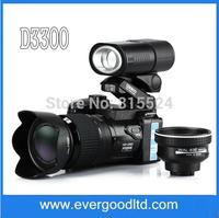 Professional 16MP HD Digital Camcorder Camera Wide Angle Lens 21x Optical Telescope Lens LED headlamps Strap Bag D3300 Camera