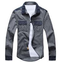 Free Shipping 2014 Autumn Brand New European Vintage Styled Shirts100% Cotton Denim Jeans Plaid Shirts Cowboy Man Fashion XXXL