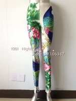 NEW 2014 Fashion Peacock and Flowers Show Thin Leggings Galaxy Digital Print Free Size Wholesale Pants For Women Lgsf3154