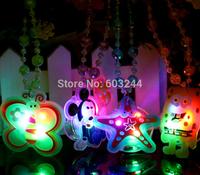 Free Ship 30pcs 38cm 3D Cartoon Fashion LED Flashing Glow Silicone Necklace Beads LED Glow Pendant Party Disco Wedding Gift Toy