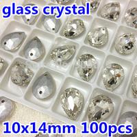 Pointback Sew on Crystals Stone Pear Drop 10x14mm 108pcs Teardrop Glass Rhinestone 2holes Silver Base