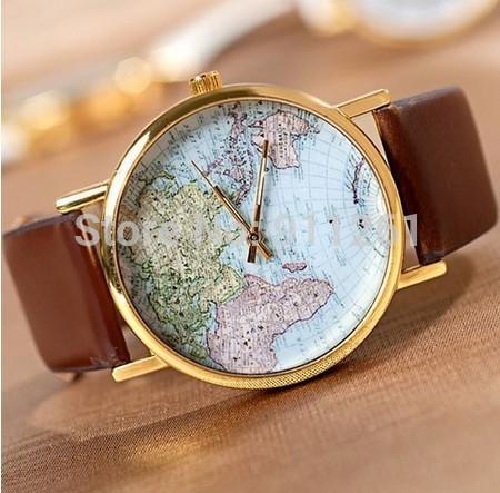 Global World Map Watch Analog Quartz Clock Leather Women Dress Wristwatches(China (Mainland))