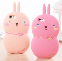 Hot New Cute 3D Cartoon Blankly Moe Bunny soft Silicon Lovely Gourd pink Rabbit Covers case for Apple iPhone 4S 4 4G phone shell