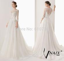 Vnaix WV001 A Line New Arrival Dubai Appliqued Chiffon Bridal Gown Boat Neck Lace Long Sleeve Wedding Dress 2014(China (Mainland))