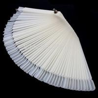 2 Sets 50 Tips Fan-shaped Nail Art Display Nail Polish Chart Display Clear & Natural