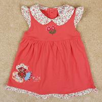 Free Shipping 2014 New Arrival Children Summer Dresses Cartoon Girls Dress 100% Cotton Girl's Princess Dress Flower Dresses