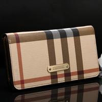 Fashion Leather Women Wallet Plaid Rivet long Purse Female Zipper Coin Pouch Bolsas New Brand bag B296