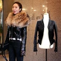 Top Quality Womens Luxury Super Large Real Fur Sheepskin Genuine Leather Zipper Coat Motorcycle Slim Short Jacket Free Shipping