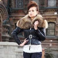 Top Quality Womens Fashion Luxury Super Large Real Fur Sheepskin Genuine Leather Zipper Coat Slim Short Jacket Free Shipping