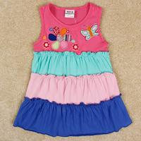 Free Shipping 2014 New Arrival Children Beach Dress Korean Style Girl's Summer Dresses Cartoon Girls Dress Princess Dress