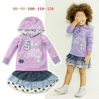 Free shipping 2014 spring autumn new 5sets/lot baby girls jacket+skirts 2pcs clothes suit rabbit children clothing set in stock
