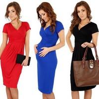 2014 Hot Sell Maternity Dress Woman'S Slim Package Hip Sexy V-Neck Stretch Dress Pregnant Dress Women'S Clothing XG50-31