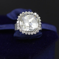 2014 New design Luxury Quality 13mm Big CZ Platinum Plated Austrian Crystal Ring Jewelry for Women Gift