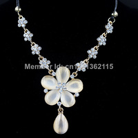2014 new fashion design high quality jewelry for women cat stone the plum flower shaped statement necklace Necklaces & Pendants