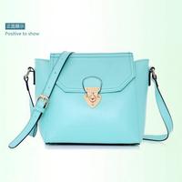 Lather-bag 2014 candy sweet gentlewomen belt lockbutton messenger bag motorcycle bag shaping bag women's handbag